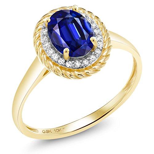 Gem Stone King 1.79 Ct Oval Blue Kyanite White Diamond 10K Yellow Gold Ring (Size 8)