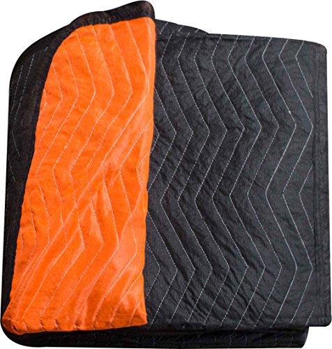 "Burly moving blanket from Forearm Forklift-1 moving blanket ""Blaze"" orange/black | full size 72 x 80 |Heavy weight moving blanket/furniture blanket that weighs 6.7 pounds"