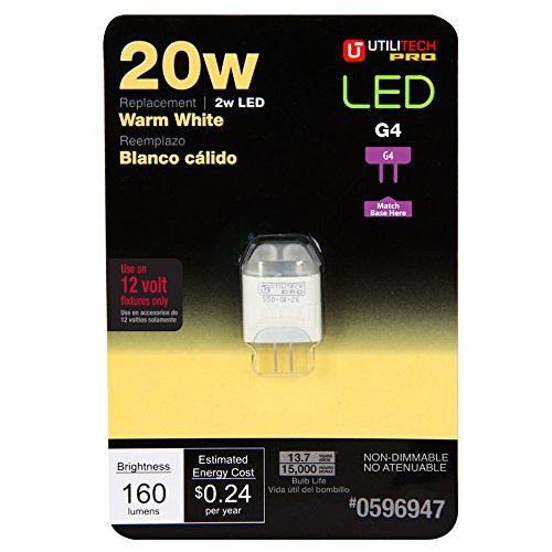 Utilitech 2-Watt (20W Equivalent) G4 Base Warm White Decorative LED Light Bulb [並行輸入品] B07R5V8SSY