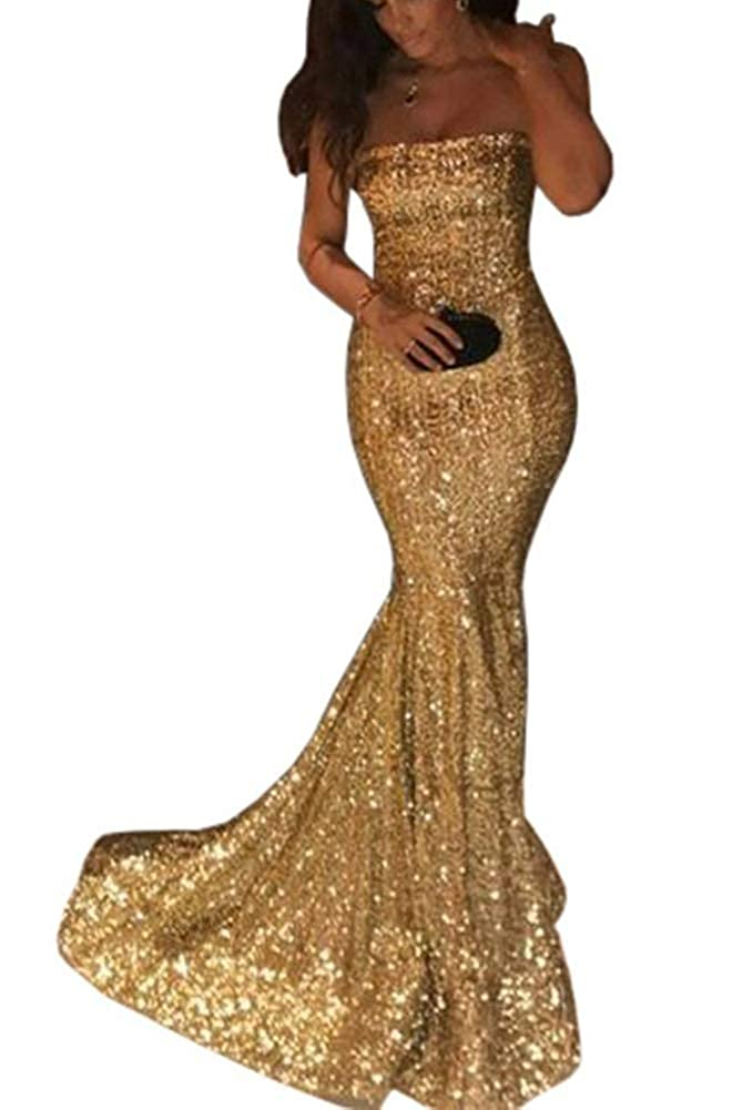 gold ZLQQ Sequins Mermaid Prom Bridesmaid Dress Strapless Long Evening Party Dress for Women