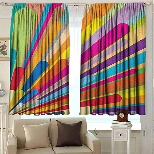 AFGG Thermal/Room Darkening Window Curtains Vintage Rainbow Burst of Vibrant Colored Lines Funky Graphic Disco Design from The Sixties Simple Stylish 72 W x 45 L Inches Multicolor ()