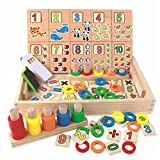 Wooden Game Toys Baby, TechCode Children Wooden Montessori Toy Math Toy Cube Educational Digital Mathematical Wood Box Calculation Kids Toy Set for Kids Boys Girls Children Toddlers Gifts