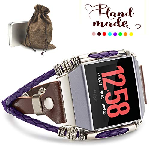 Marval.P Compatible Fitbit Ionic Bands, Handmade Leather DIY Band, Replacement Bracelet Strap, Wristbands with Adjustable Size, Fashion Wrist Band Straps