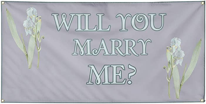 Advertising Flag, New Many Sizes Available Will You Marry Me 13 oz Heavy Duty Vinyl Banner Sign with Metal Grommets Store