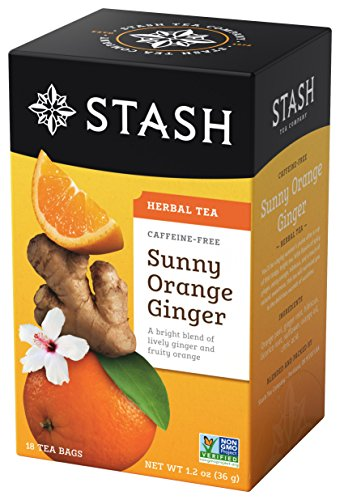 (Stash Tea Sunny Orange Ginger Herbal Tea 18 Count (Pack of 6) Individual Uncaffeinated Herbal Tea Bags for Use in Teapots Mugs or Cups, Brew Hot Tea or Iced Tea)