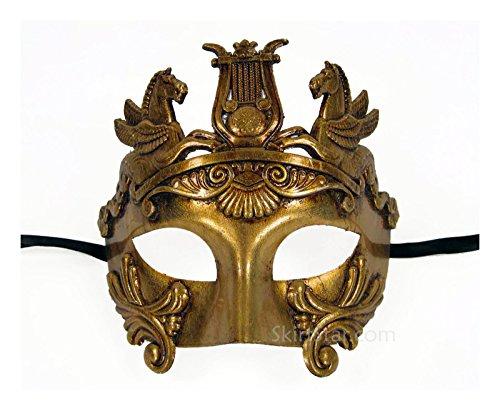 [Men's Warrior Masquerade Mask (Gold)] (Ancient Roman Soldier Costume)