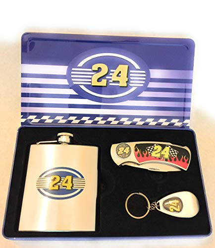 Jeff Gordon #24 Collectors Set Flask, Pocket Knife and Key chain Bottle Opener in Tin
