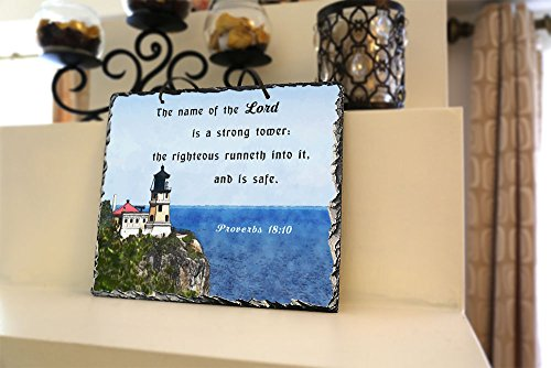 The Name of the Lord Is a Strong Tower… Proverbs 18:10 ★ Inspiragifts ★ Religious Inspirational Home Wall Decor ★ Natural Stone Plaque ★ Unique Christian Gifts (9.5 x 11.5, King James Version)