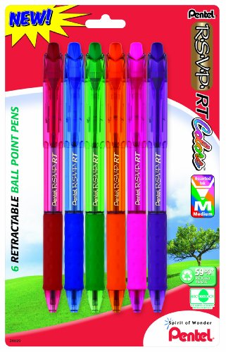 Pentel R.S.V.P. RT Colors New Retractable Ballpoint Pen, Medium Line, Assorted Ink Colors, 6 Pack  (BK93CRBP6M) (Rsvp Retractable Grip Pentel Pen)