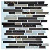 Art3d 12''x12'' Self Adhesive Wall Tile Peel and Stick Backsplash for Kitchen, Long Marble Design (6 Pack)