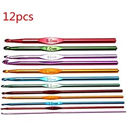 12pcs Single Head Crochet Hooks 2-8mm Hook Head Aluminum Knitting Needles Knit Needle Weave Yarn Set by TheBigThumb