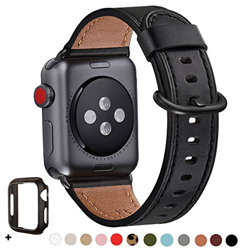 WFEAGL Compatible iWatch Band 38mm 40mm 42mm 44mm, Top Grain Leather Bands of Many Colors for iWatch Series 5,Series 4,Series 3,Series 2,Series 1 (Black Band+Black Adapter, 38mm 40mm)