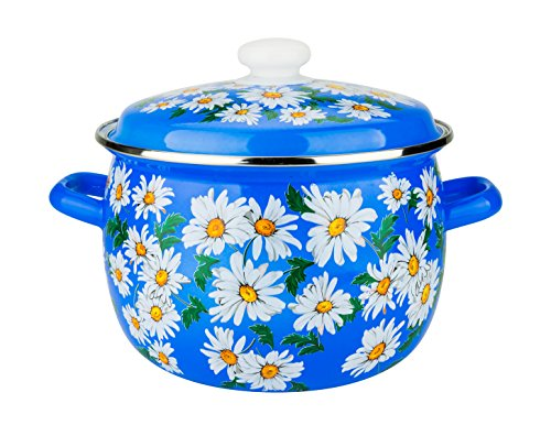 3-Piece Set, Dutch Oven Pans with Cover Lids, Enamel Coated Round Steel Casserole/Saucepot with Cover, Induction Ready Cookware Set,Daisies on Blue Stock Pots