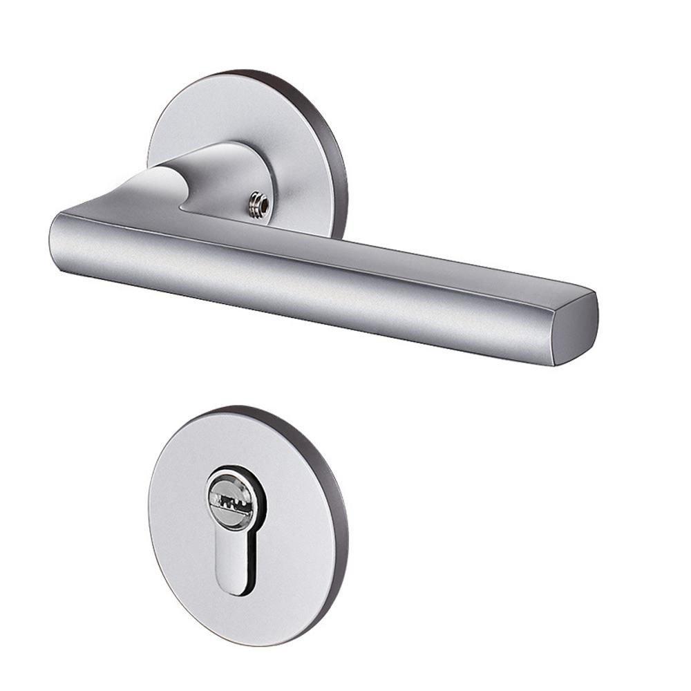 Daeou Interior bedroom split lock bathroom bathroom door lock black mute solid wooden door aluminum handle