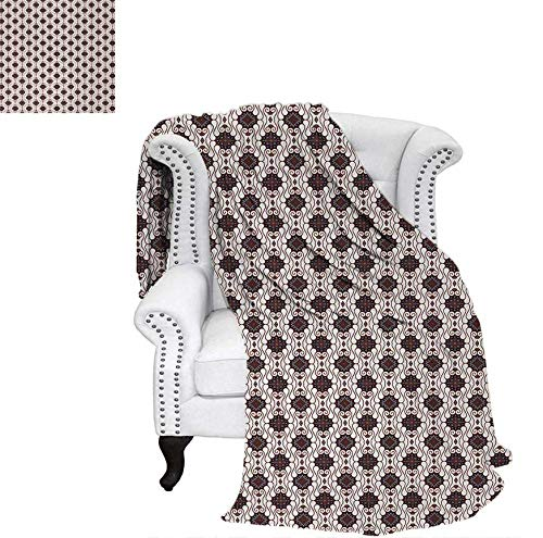 - Custom Design Cozy Flannel Blanket Javanese Batik Pattern with Geometric Influences Dots Lines and Rhombuses Lightweight Blanket 50