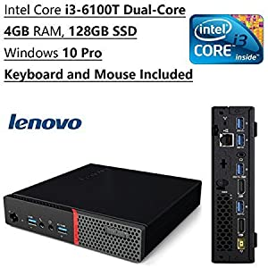 Lenovo ThinkCentre Tiny Flagship High Performance Desktop PC | Intel Core i3-6100T Dual-Core | 3.20 GHz | 4GB RAM | 128GB SSD | Bluetooth | WIFI | Windows 10 Pro | Keyboard and Mouse