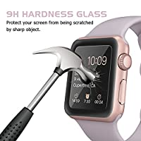 Amoner Apple Watch Screen Protector, 38mm iWatch Tempered Glass Screen Protector, Full Coverage Scratch Proof Screen Film for 38mm iWatch Series 1/2/3, Black by Amoner