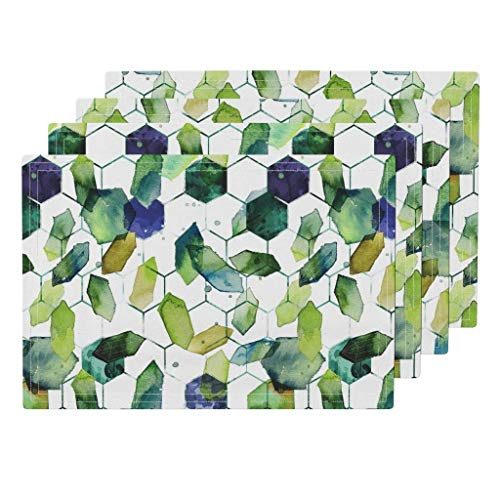 Watercolor Jade 4pc Organic Cotton Sateen Cloth Placemat Set - Watercolor Home Decor Jade Jewels Watercolor Geometric Modern Home Decor Abstract Diamonds by Karismithdesigns (Set of 4) 13 x 19in