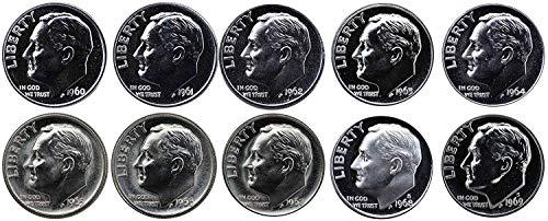 1960 P 1961 1962 1963 1964 1965 1966 1967 1968 1969 Gem Roosevelt Dime Run 10 Coin Set .10 US Mint Proof
