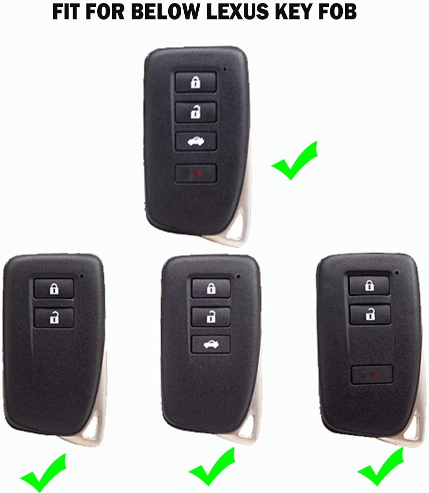 K LAKEY Key Fob Cover,Suitable for Lexus 2013-Up RX is ES GS LS NX RS GX LX RC LC Key Fob,Smart Car Key Soft TPU Case Keyless Shell Protector Key Fob Jacket with Alloy Keychain Black