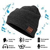 Bluetooth 4.1 Christmas Beanie Winter Hat Running Headphones Wireless Musical Knit Cap with Stereo Headsets & Mic Unique Christmas Gifts Thick Warm Hat for Women, Men, Boys and Girls (Gray)