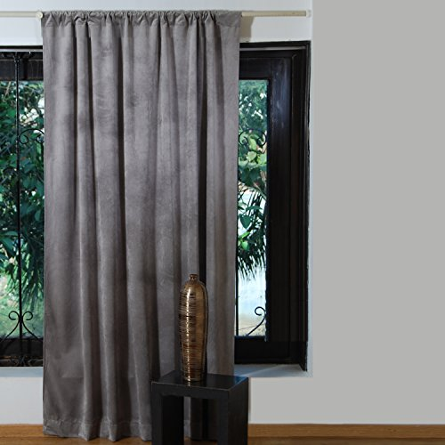 Cambay Linens Modern Decoration Soft Vintage Living Room Bedroom Window Curtain – Luxery Plush Velvet Solid Heavy Blackout Window Curtain for Any Room – 1 Panel, Grey, 52″W X 84″L