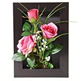 3D Frames Artificial Flowers Arrangement Tabletop Decoration or Wall Mounted Sculptures (Rose)