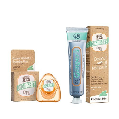 Dr. Ginger's Fluoride Free Coconut Oil Pulling & Whitening Toothpaste & Xylitol Dental Floss 2 Pack Bundle | Great Coconut Mint Taste, No Harmful Chemicals or Ingredients