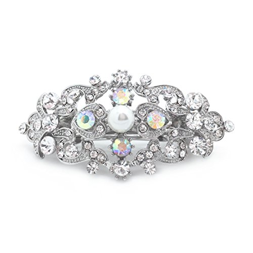 Aurora Borealis AB Crystal Simulated Pearl Romancing Heart Hair Barrette Rhinestone Small, 2.5 inches