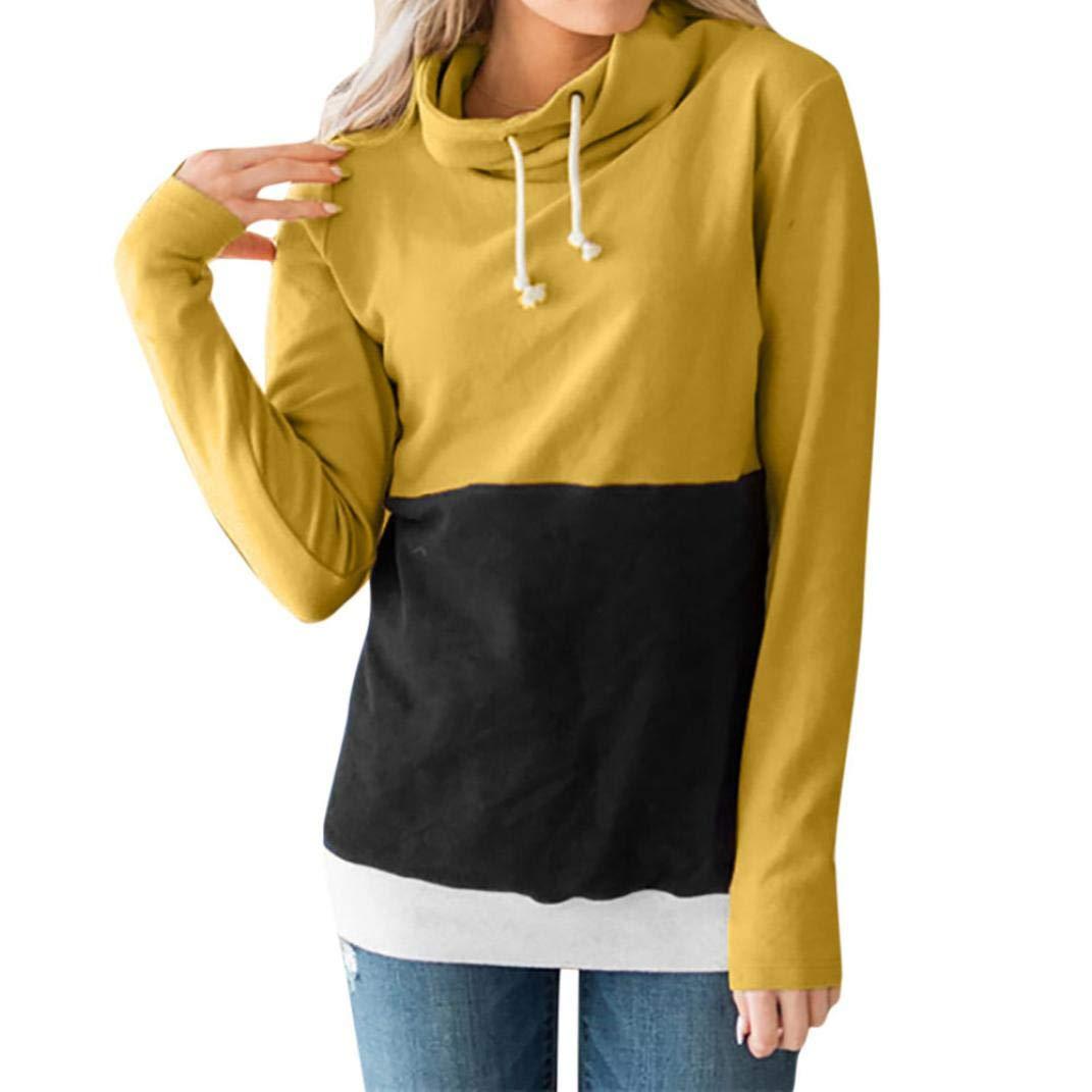FimKaul Women's Long Sleeve Pullover Color Block Sweatshirt Casual Blouse (L, Yellow)