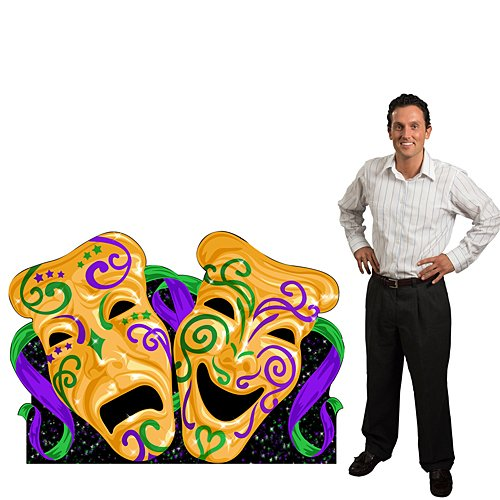 3 ft. 10 in. Mardi Gras Comedy & Tragedy Masquerade Mask Standee Standup Photo Booth Prop Background Backdrop Party Decoration Decor Scene Setter Cardboard - Gras Mask Comedy Mardi