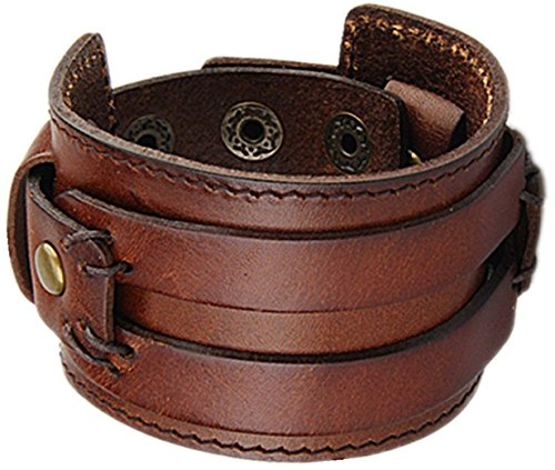 (Tundra Jewelry The Most Comfortable Genuine Leather Cuff Bracelet, Brown)