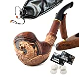 Pear Wood Hand Carved Tobacco Smoking Pipe Dragon + Pouch