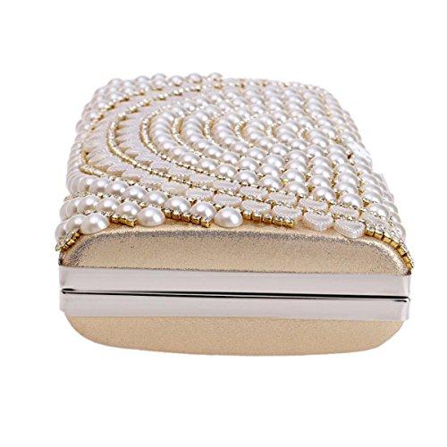 Europa Y Los Estados Unidos Moda Señoras Embrague Lujo De Alto Grado Banquete Perla Bolso De Tarde Bolso Del Mensajero Bolso Del Vestido De Noche Gold