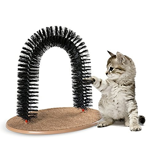 AikoPets Cat Arch Self Groomer Massager Groom Toy Dog Brushes Pet Puppy Cat Scratcher Toys Fur Grooming Cat Toy Brush Controls Shedding with Scratch Pad and Catnip Interactive Kitten Toys