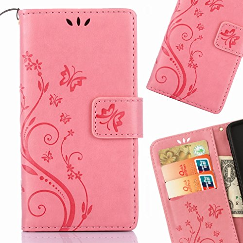 Yiizy Huawei P8 Lite (2017) / Honor 8 Lite Custodia Cover, Erba Fiore Design Premium PU Leather Slim Flip Wallet Cover Bumper Protective Shell Pouch with Media Kickstand Card Slots (Rosa)