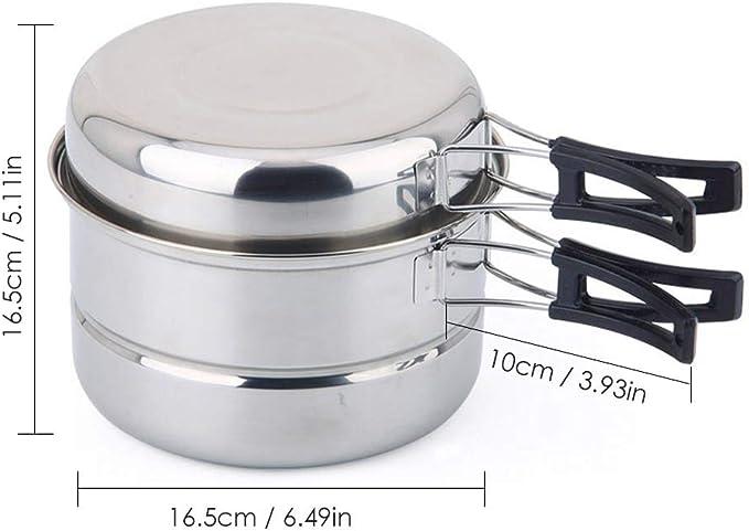 Juego de utensilios de cocina para 2 – 3 personas, de acero inoxidable, juego de cacerolas, portátil, para camping, cocina, picnic, camping, ...