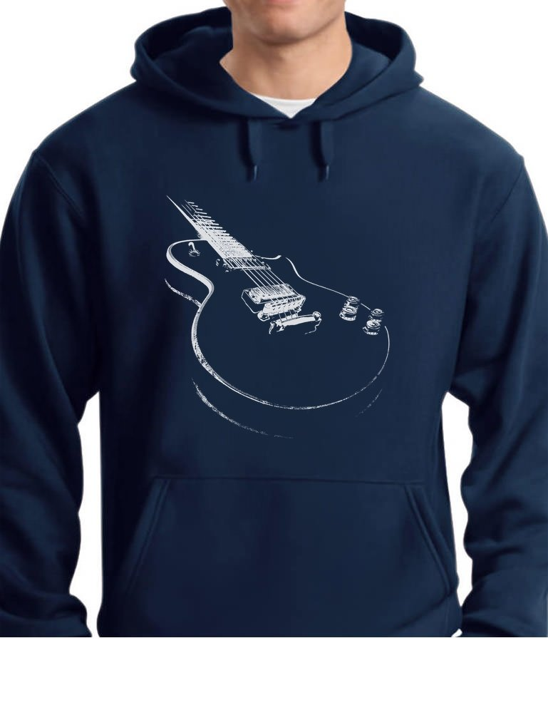 Tstars TeeStars - Gift For Guitarist - Cool Musician Electric Guitar Printed Hoodie Small Blue