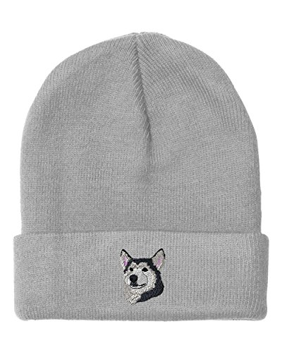 Siberian Husky Embroidery (Siberian Husky Head Embroidery Embroidered Beanie Skully Hat Cap Light)