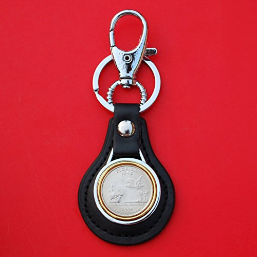 US 2004 Florida State Quarter BU Uncirculated Coin Gold Silver Two Tone Leather Key Chain Ring NEW