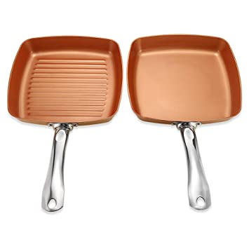 Sartén freír sartén cuadrada de cerámica de cobre de pan chef utensilios de cocina sartén de ...