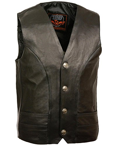 Milwaukee Leather Men's Buffalo Nickel Snap Classic Vest Big Black - Buffalo Nickel Vest