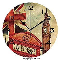 SCOCICI 10 Inch Round Face Silent Wall Clock Vintage Style Symbols of London with National Flag UK Great Britain Old Clock Tower Decorative Unique Contemporary Home and Office Decor