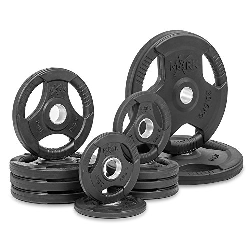 XMark Premium Quality Rubber Coated Tri-grip Olympic Plate Weights - 155 lb Set