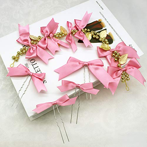 OLIJU Beaded Flowers Bridal Hair Styling Accessories Head Flower Bands Bouquet Wedding Dress Show (Kim b Section Pink Ribbon Hair Accessories ()
