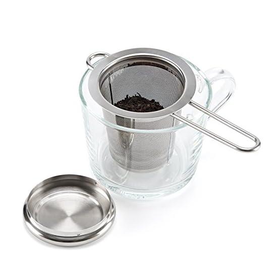 Infuser Coffee Mesh Fine Lid Stainless Steel Filters Tea Strainer