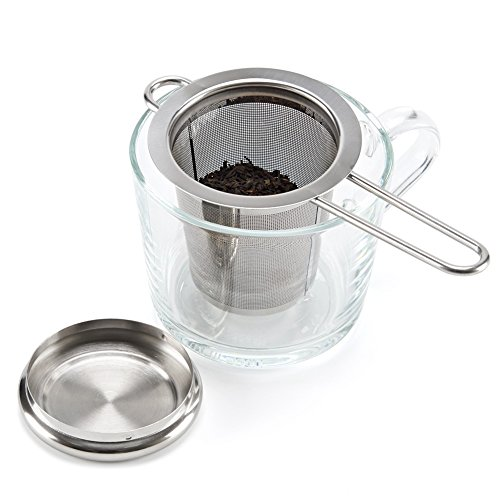 EZOWare Tea Infusers for Loose Leaf Tea [Set of 4] Stainless Steel Fine Mesh Tea Strainer with Handle and Lid, Reusable Tea Steeper for Tea Pot, Cup, Mug by EZOWare (Image #4)
