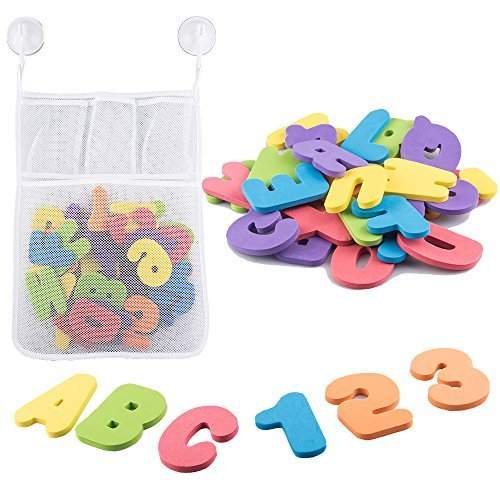 Benail 36 Foam Bath Letters and Numbers Educational Toys And Bath Toys Early Alphabet Educational Tool with Bath Toy Organizer ()