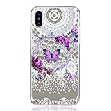 iPhone X Case (5.8-inch), iPhoneX Cover [Clear Transparent], MerKuyom Flexible Gel Crystal Rubber Soft TPU Cover Skin Case W/ Stylus For Apple iPhone X (2017) (Butterfly Flower Pattern)