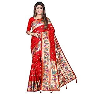 Om Tex Women's Silk Blend Self Design; Paithani; Embellished; Woven Banarasi ; Jacquard Saree (Red)